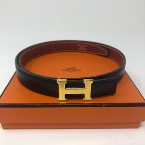 HERMES Black and Gold Constance Reversible Size 60